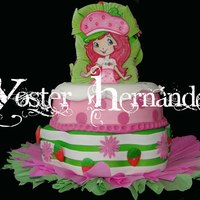 Strawberry Shortcake 2 tier- Cake topper is handpainted