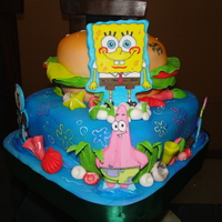 Bob Sponge Cangre Burguer All edible. Cakes were airbrushed. Characters were handpainted.