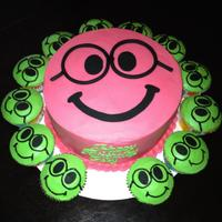 Nerdy Smiley Face Birthday Cake And Cupcakes Nerdy Smiley face birthday cake and cupcakes