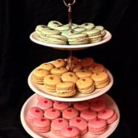 French Macarons Vanilla (blue), Caramel (tan), and Raspberry (pink) macarons!