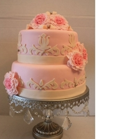 Light Pink Baby Shower Cake With Flowers