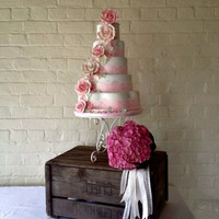 Rose - Country Garden Wedding   5 tier dummy cake for a photoshoot bouquet - Signature flowers by Emma Newman