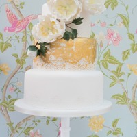Faded Glamour Vintage feel with mottled gold leaf, edible lace and gumpaste tree peonies