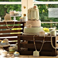 Birdcage Display   3 tier birdcage cake, mini cakes and cupcakes for a vintage loving bride. Inspired by Cotton and Crumbs.