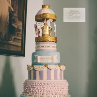 Vintage Carousel Wedding Cake   4 tier carousel pastillage top tier hid a turntable which rotated the horses
