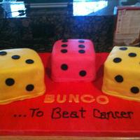 Bunco For a Bunco to beat Cancer event. The colors for the event were hot pink and yellow.