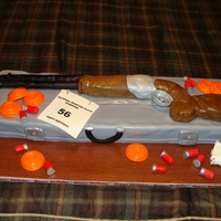 Sporting Clays My husband is an avid sporting clays fan...this is his birthday cake...all is edible except the cakeboard.