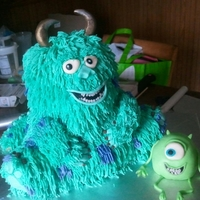 Monsters Inc. Inspired Cake Sulley and Mike cake inspired by the love of Monsters Inc movie.