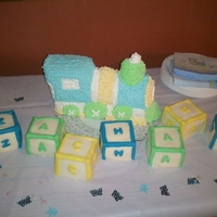 "Z Train Baby Shower Cake Baby shower cake ""Z Train"" with ""ZACHARY"" Baby BlocksCake is covered in Italian buttercream stars and the blocks are..."