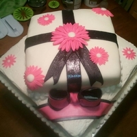 Pink, Black And White Birthday Present Cake Pink, Black and White Birthday Present Cake covered in fondant
