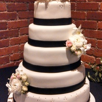 Simple Ivory And Black Wedding Cake, C Simple 5-tiered cake with black and ivory fondant