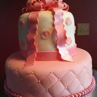 Shades Of Pink Baby Shower Cake Covered In Fondant Shades of pink baby shower cake!Covered in fondant
