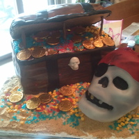 Pirate Skull With Treasure Chest Pirate Skull cake (made with Wilton's 3D skull cake mold) and a Pirate Chest cake loaded with treasures!!!!