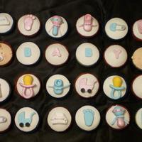 Pink And Blue Baby Shower Cupcakes Handmade pink and blue baby decoration with vanilla cupcakes
