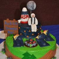 1316768907.jpg I made this cake for my son's Blue and Gold Banquet in February. The theme was about outer space. The figures represent the 3 boys...