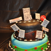 Over The Hill 60Th Birthday I made this cake for my dad's 60th birthday. It is all fondant. The signs are made from gumpaste.