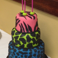 Animal Print Cake Double chocolate chip cake with chocolate filling. Covered in fonant, decorated with fondant.