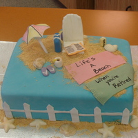 Beach Retirment Cake For a co worker who is retiring on the beach. Strawberry shortcake flavor
