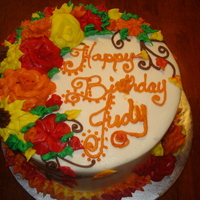Fall Birthday Cake:) All Buttercream.... I sometimes struggle with the buttcream flowers it seems....