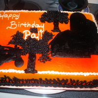 Farmer Silhouette Birthday Cake!  Silhouette with the farming equipment. airbrushed the background to make it look like a sunset... Added small piped on wheat on the side,...