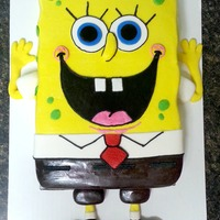 Spongebob Birthday Cake Iced in buttercream with buttercream and fondant details.