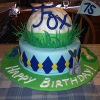 Golf Birthday Cake Golf Ball cake for 75th Birthday - chocolate sour cream pound cake with alternating layers of chocolate ganache and raspberry filing. Iced...