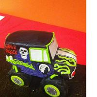 "Gravedigger Monster Truck Birthday Cake RCT truck, vanilla sheet cake with Oreo ""dirt"""