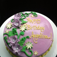 Flowering Vines Strawberry cake with chocolate BC, lavender fondant, fondant vines, GP flowers