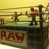 Wrestling Ring Birthday Vanilla cake with Nutella filling, vanilla BC frosting, fondant paneling & GP accents