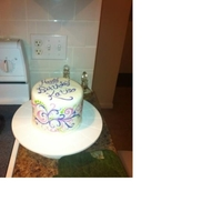 Painted Fondant Vanilla Vanilla cake with rosewater vanilla swiss BC, vanilla fondant with hand painted decoration