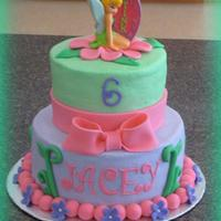 Tinkerbell Cake iced in butetrcream with fondant decorations - tink is a candle