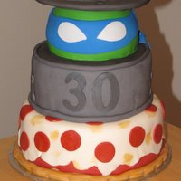Tmnt Teenage Mutant Ninja Turtles Cake 30th bday TMNT cake , covered in fondant , lid is cardboard round covered in fondant