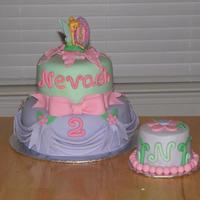 Tinkerbell Cake   tinkerbell cake covrered in fondant , 1st time doing swags, harder then i thought they would be !