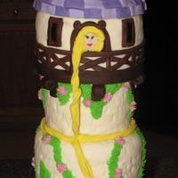 "Tangled Rapunzels Tower Cake 6"", 5"", 4"" round cakes covered in fondant top is rice crispy treats shaped in 5"" pan and shaped roof then covered in..."