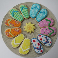 Beach Cookies For a multi-family vacation getaway. The customer is a huge flip flop fan, so these were fun to do.