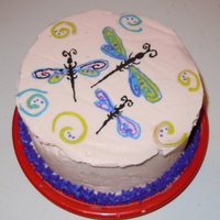 Dragonflies  6in red velvet with white chocolate buttercream. Dragonflies are FBCT...I accidentally made the transfer a little bit too big and wasn&#039...