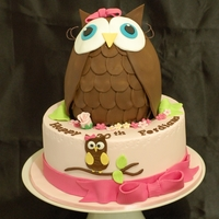 Owl Cake Brown Owl made from rice krispies treat and covered with chocolate fondant.