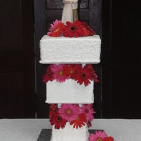 "Reverse Stacked Wedding Cake Tiers are 6, 8 and 10"". Modified separator plates to accomodate insertion into a smaller tier."
