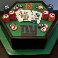Groom's Cake Chocolate cake with chocolate ganache, covered in fondant. Gumpaste/Fondant decorations. Friend wanted to incorporate Mets, Giants and...