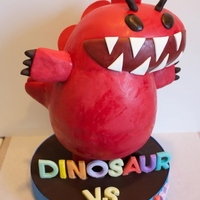 Dinosaur Vs. Birthday! My son LOVES Bob Shea's Dinosaur vs. book series so this was the year he got a Dinosaur vs. Birthday cake! Cake is vanilla with...
