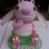 Pink Stitch 4Th Bday Cake I made this for my daughter this past weekend. She turns 4 tomorrow! She has a stuffed animal from Lilo and Stitch, this is Angel. <...