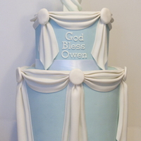 "Owen's Christening Cake Tall tier cake. Bottom is two 8"" top is 6"" round. Chocolate cake with bavarian creme, iced with whipped ganache and covered in..."