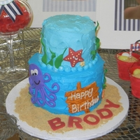 Under The Sea buttercream with fondant decorations