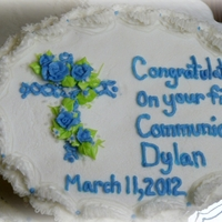 First Communion blue cross, roses, leaves,