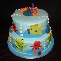 Ocean Theme Baby Shower All buttercream icing with fondant accents