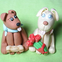 My First Figures  First, thank you Aine2 for the fantastic tutorials on the dogs and miniature roses. They are made of a 50/50 fondant, gumpaste mixture. TFL...