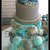 Beach Theme Bauble Wedding Cakes I loved creating this cake. It was very time consuming but it turned out fantastic.. The bride was ecstatic!Colours are Teal and Taupe.