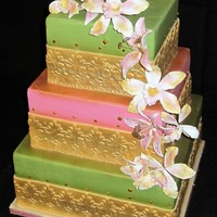 Gold Guilded Wedding Cake