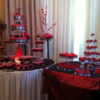Quinceanera Cake So far this is the biggest cake made..6,10,14vanilla/choc cakes covered in red fondant & 200cupcakes