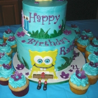 Spongebob Two tier with cupcakes. SpongeBob & Gary